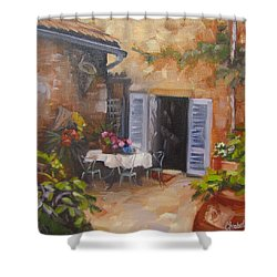 Shower Curtain featuring the painting San Donato Village Italy by Chris Hobel