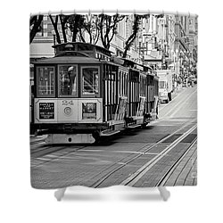 San Francisco Cable Cars Shower Curtain by Eddie Yerkish