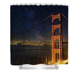 San Francisco City Skyline Through Golden Gate Bridge Shower Curtain by David Gn