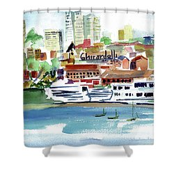 San Francisco Cityfront From Aquatic Park Shower Curtain by Tom Simmons