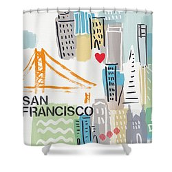 San Francisco Cityscape- Art By Linda Woods Shower Curtain