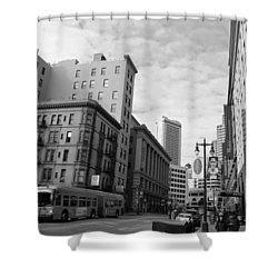 San Francisco - Jessie Street View - Black And White Shower Curtain by Matt Harang