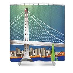 San Francisco New Oakland Bay Bridge Cityscape Shower Curtain