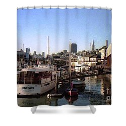 San Francisco Pier And Boats Shower Curtain by Ted Pollard