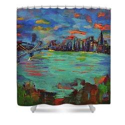 San Francisco Skyline In Sunset Shower Curtain