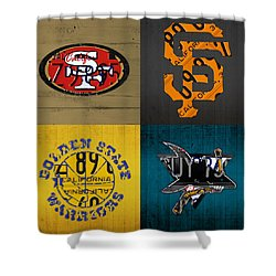 San Francisco Sports Fan Recycled Vintage California License Plate Art 49ers Giants Warriors Sharks Shower Curtain by Design Turnpike