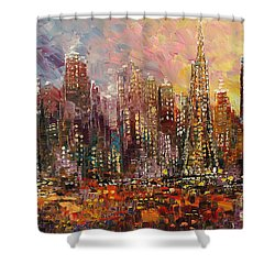 Shower Curtain featuring the painting San Francisco by Tatiana Iliina