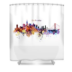San Francisco Watercolor Skyline Shower Curtain by Marian Voicu