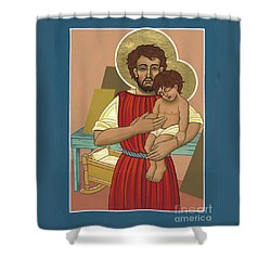 Shower Curtain featuring the painting Retablo De San Jose Obrero 301 by William Hart McNichols