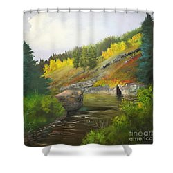 San Juan River Shower Curtain by Barbara Haviland