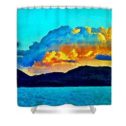 Shower Curtain featuring the painting San Juan Seascape by Joan Reese