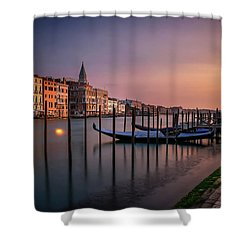 San Marco Campanile With Gondolas At Grand Canal During Calm Sunrise, Venice, Italy, Europe. Shower Curtain
