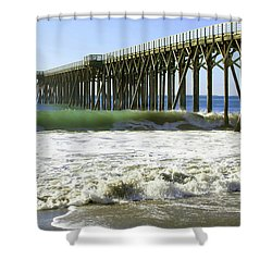 San Simeon Pier Shower Curtain by Art Block Collections