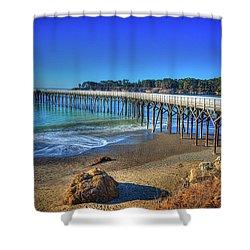 San Simeon Pier California Coast Shower Curtain by James Hammond