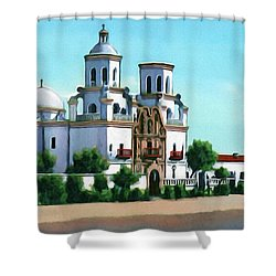 San Xavier Del Bac Mission Shower Curtain by Walter Colvin