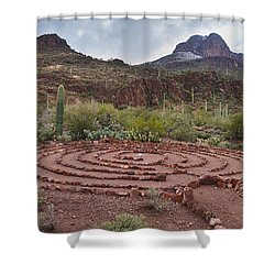 Shower Curtain featuring the photograph Sanctuary Cove Labyrinth by Donna Greene
