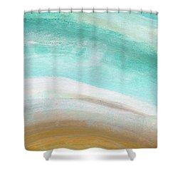 Sand And Saltwater- Abstract Art By Linda Woods Shower Curtain