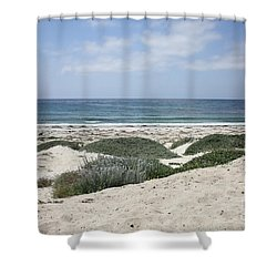 Sand And Sea Shower Curtain by Carol Groenen