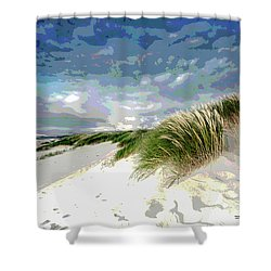 Sand And Surfing Shower Curtain by Charles Shoup