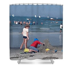 Sand Castle And Sailboats At Wingaersheek Beach Shower Curtain