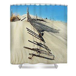 Sand Dune Fences And Shadows Shower Curtain by Gary Slawsky