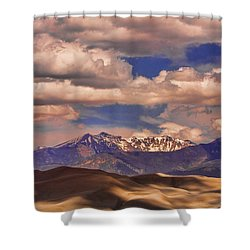 Sand Dunes - Mountains - Snow- Clouds And Shadows Shower Curtain by James BO  Insogna