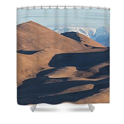 Sand Dunes And Rocky Mountains Panorama Shower Curtain by James BO Insogna