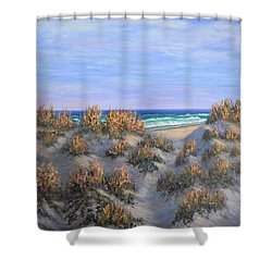 Sand Dunes Sea Grass Beach Painting Shower Curtain