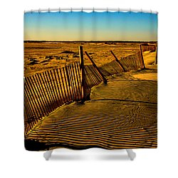 Sand Fences At Lands End II Shower Curtain