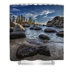 Sand Harbor II Shower Curtain by Rick Berk