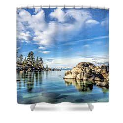 Sand Harbor Morning Shower Curtain