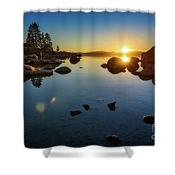 Sand Harbor Sunset Shower Curtain
