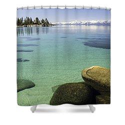 Sand Harbor Underwater Rocks Shower Curtain