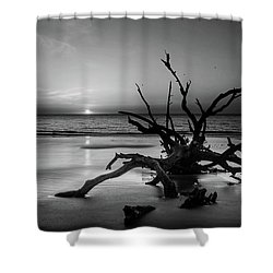 Sand Surf And Driftwood In Black And White Shower Curtain