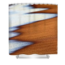 Sand And Waves Shower Curtain by Tony Cordoza