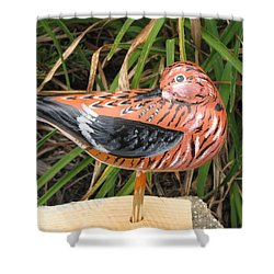 Shower Curtain featuring the sculpture Sanderling Back by Kevin F Heuman