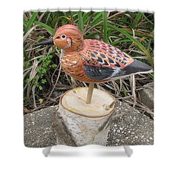 Shower Curtain featuring the sculpture Sanderling Foward 3 by Kevin F Heuman