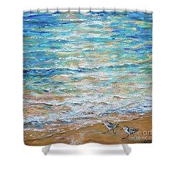 Sanderlings Shower Curtain by Linda Olsen