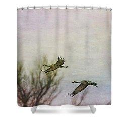 Sandhill Cranes Flying - Texture Shower Curtain