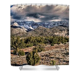 Sandia Mountain Landscape Shower Curtain by Alan Toepfer