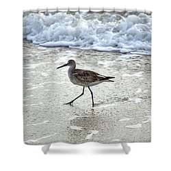 Sandpiper Escaping The Waves Shower Curtain