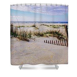 Sand  Fences On The Bogue Banks 2 Shower Curtain by John Harding