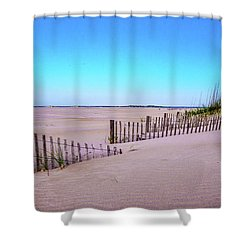 Sand  Fences On The Bogue Banks Shower Curtain