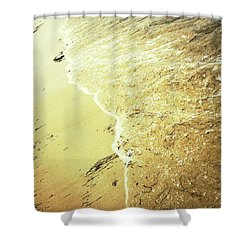 Sandy Beach And Sea Wave Shower Curtain