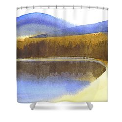 Shower Curtain featuring the painting Sandy Blue Dusky Mountain Lake by Kip DeVore