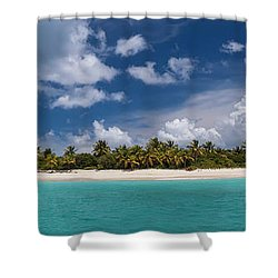 Shower Curtain featuring the photograph Sandy Cay Beach British Virgin Islands Panoramic by Adam Romanowicz