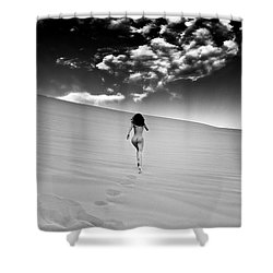 Sandy Dune Nude - Catching The Clouds Shower Curtain