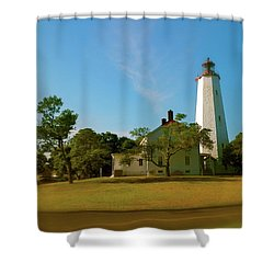 Shower Curtain featuring the photograph Sandy Hook Lighthouse by Iconic Images Art Gallery David Pucciarelli