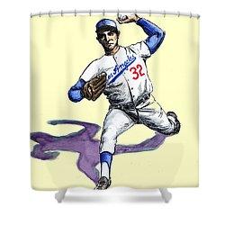 Sandy Koufax Shower Curtain by Mel Thompson