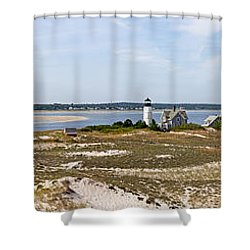 Sandy Neck Lighthouse With Fishing Boat Shower Curtain